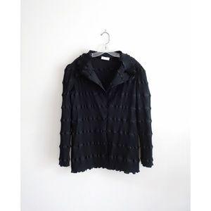 Carol Peretz Black Crinkle Pleated Top Jacket sz M